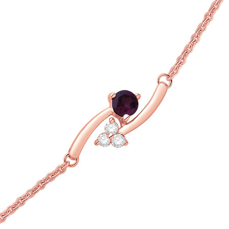 Bracelet with Rhodalite Garnet and 0.10 Carat TW of Diamonds in 10ct Rose Gold