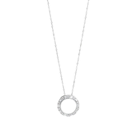 Circle Pendant with 0.20 Carat TW of Diamonds in 10ct White Gold