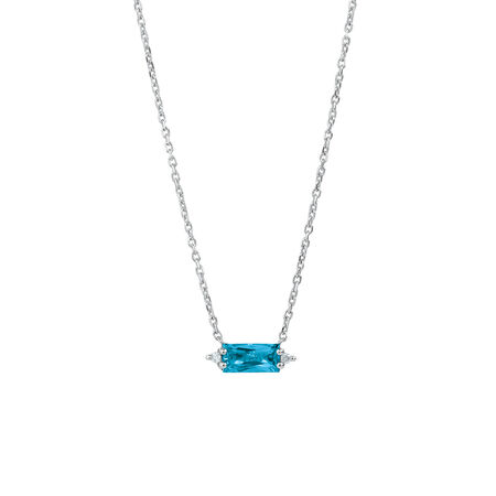 Pendant with Diamonds & Blue Topaz in Sterling Silver