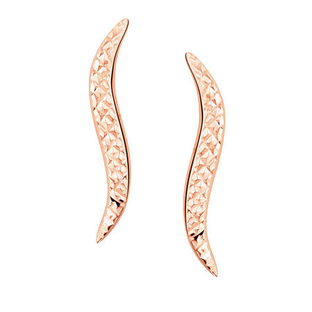 Patterned Ear Climbers in 10ct Rose Gold