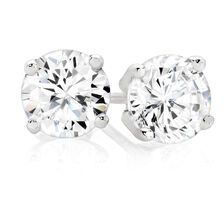 Stud Earrings with Cubic Zirconia in 10ct White Gold