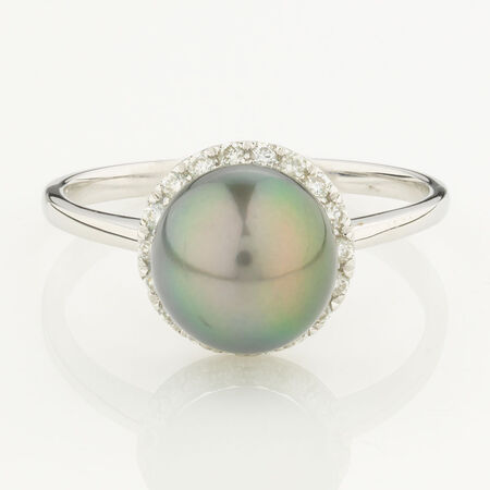 Online Exclusive - Ring with 0.16 Carat total Weight of Diamonds and Black Cultured Freshwater Pearl in 10ct White Gold