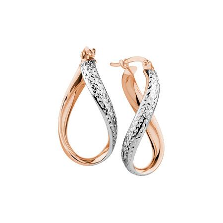 Hoop Earrings in 10ct Rose & White Gold