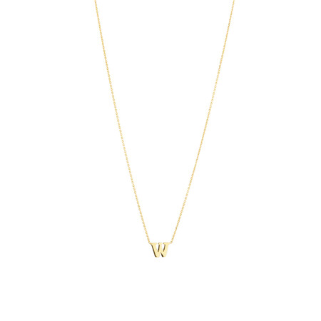 """""""W"""" Initial Necklace in 10ct Yellow Gold"""