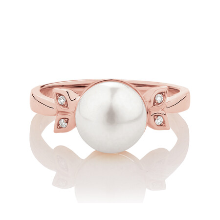 Ring with Diamonds & Cultured Freshwater Pearls in 10ct Rose Gold