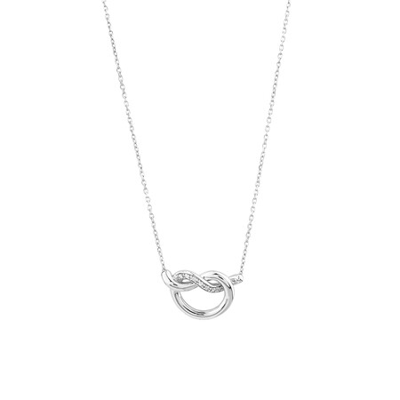 Knots Necklace With Diamonds In Sterling Silver