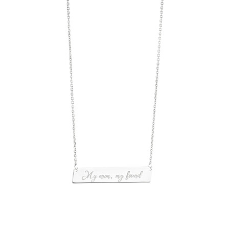 Engraved Bar Necklace in Sterling Silver