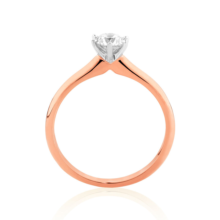 Certified Solitaire Engagement Ring with a 0.50 Carat TW Diamond in 18ct Rose and White Gold
