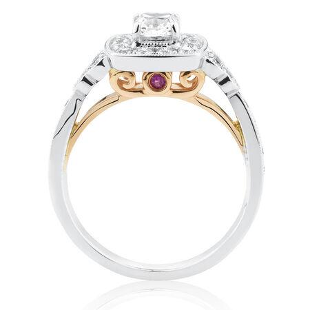 Sir Michael Hill Designer GrandAmoroso Engagement Ring with 0.98 Carat TW of Diamonds in 14ct White & Rose Gold