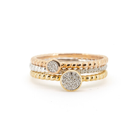 Three Stacker Rings with 0.15 Carat TW of Diamonds in 10ct Yellow, White & Rose Gold