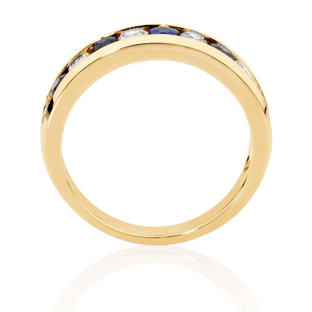 Ring with Sapphire & 1/2 Carat TW of Diamonds in 10ct Yellow Gold