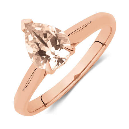 Pear Ring with Morganite in 10ct Rose Gold
