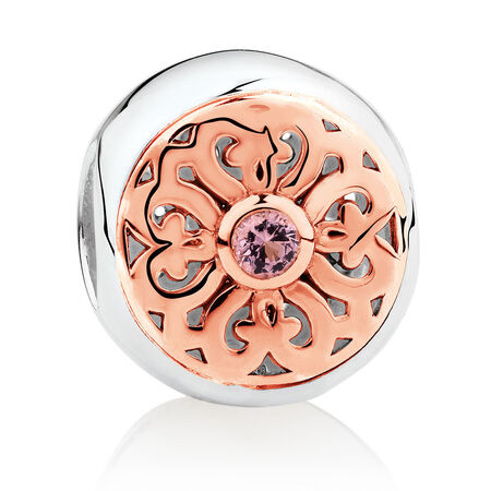 Patterned Charm with Pink Crystal in 10ct Rose Gold & Sterling Silver | Tuggl