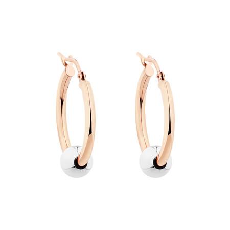 Ball Hoop Earrings in 10ct Rose & White Gold