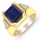 Ring with Created Sapphire and Diamonds in 10ct Yellow Gold