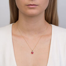 Pendant with Created Ruby & Diamonds in 10ct Yellow Gold