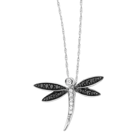 Online Exclusive - Pendant with 0.16 Carat TW of White & Enhanced Black Diamonds in 10ct White Gold