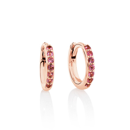 Huggie Earrings with Pink Tourmaline in 10ct Rose Gold