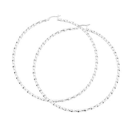 80mm Twist Hoop Earrings in Sterling Silver