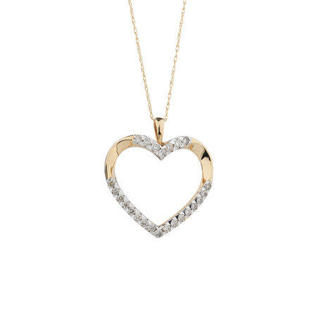 Online Exclusive - Heart Pendant with 1/2 Carat TW of Diamonds in 10ct Yellow Gold