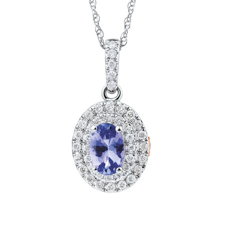 Michael Hill Designer Fashion Pendant with Tanzanite & 0.20 Carat TW of Diamonds in 10ct White Gold