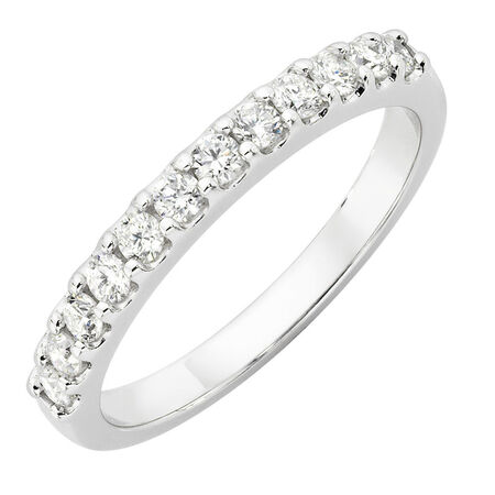 Wedding Band with 0.40 Carat TW of Diamonds in 14ct White Gold