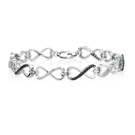 Online Exclusive - Tennis Bracelet with 0.70 Carat TW of White & Enhanced Black Diamonds in Sterling Silver