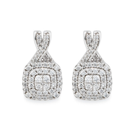 Online Exclusive - Earrings with 1/2 Carat TW of Diamonds in 10ct White Gold