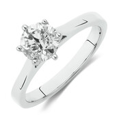 Solitaire Engagement Ring with 1 Carat Diamond in 14ct White Gold