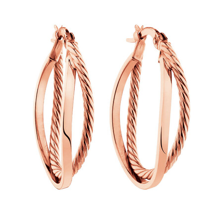 Double Hoop Earrings in 10ct Rose Gold
