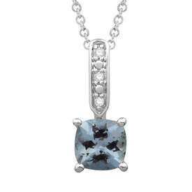 Pendant with Aquamarine and Diamond in 10ct White Gold