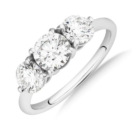 Laboratory-Created 1.70 Carat Round Three Stone Diamond Ring In 14ct White Gold