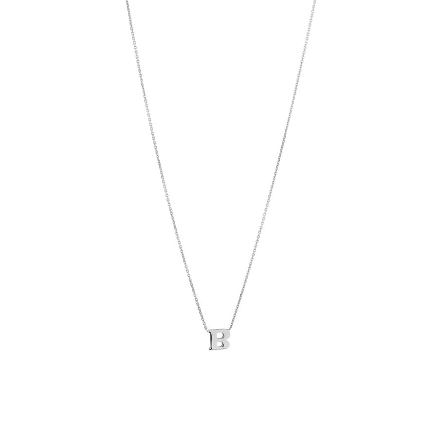 'B' Initial Necklace in Sterling Silver