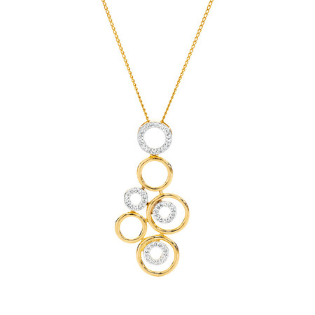 Online Exclusive - Pendant with 0.20 Carat TW of Diamonds in 10ct Yellow Gold