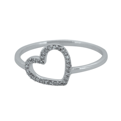 Hollow Heart Ring with Diamonds in Sterling Silver