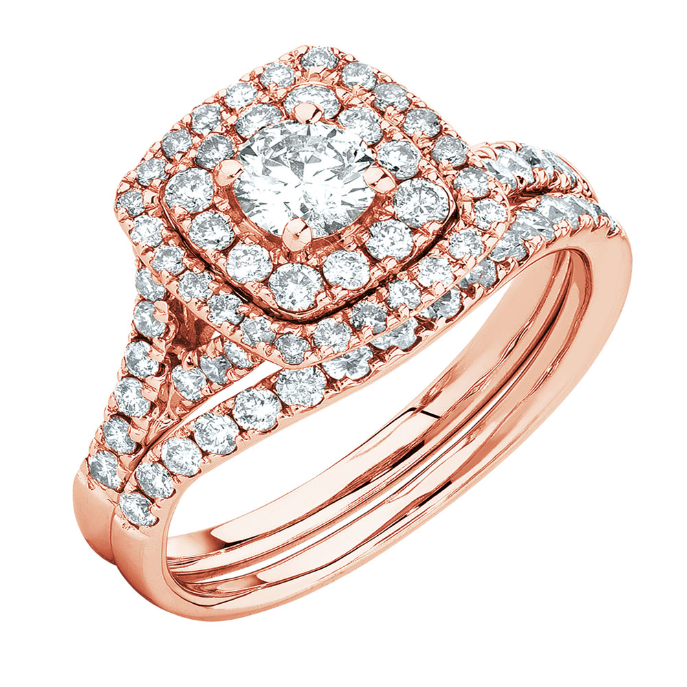 Bridal Set With 1 18 Carat Tw Of Diamonds In 14ct Rose Gold
