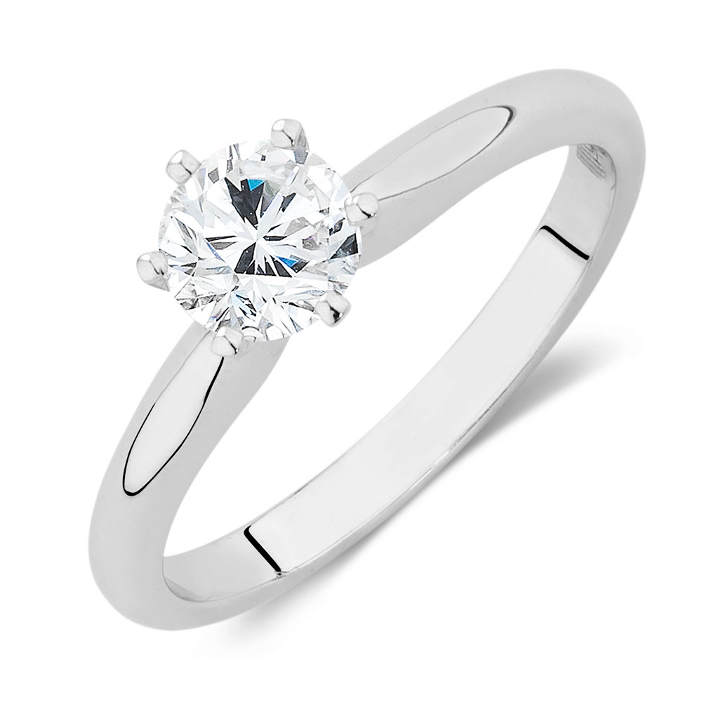 Certified Solitaire Engagement Ring with a 34 Carat TW Diamond in