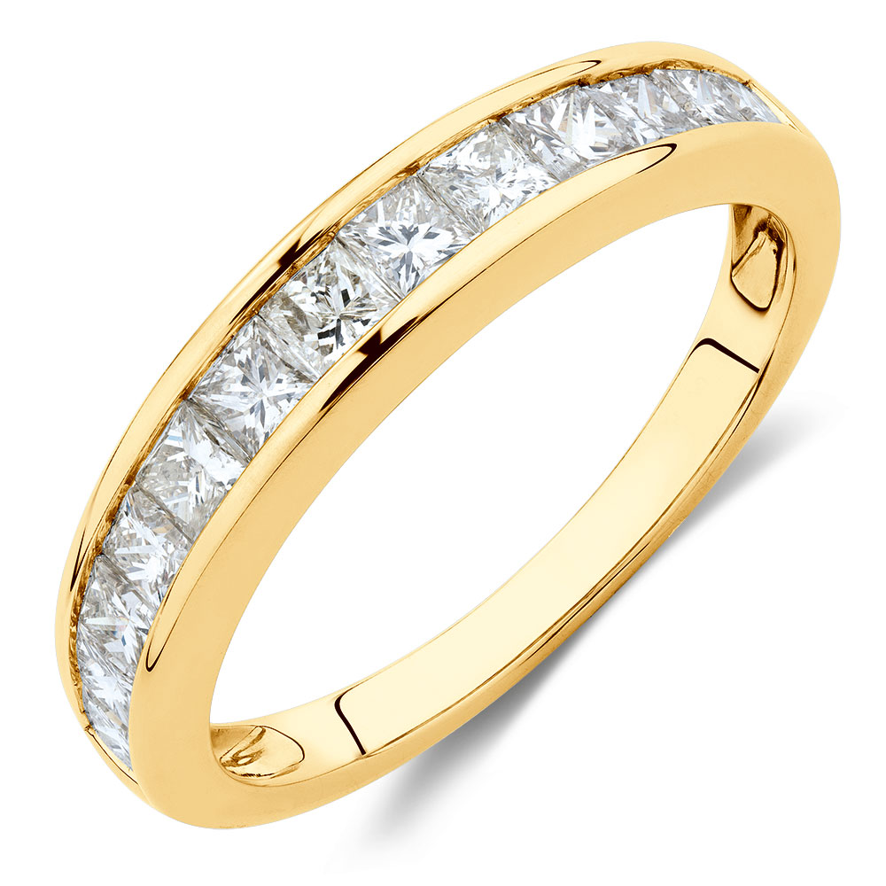 wedding band with 1 carat tw of diamonds in 10ct yellow gold On 1 carat wedding band