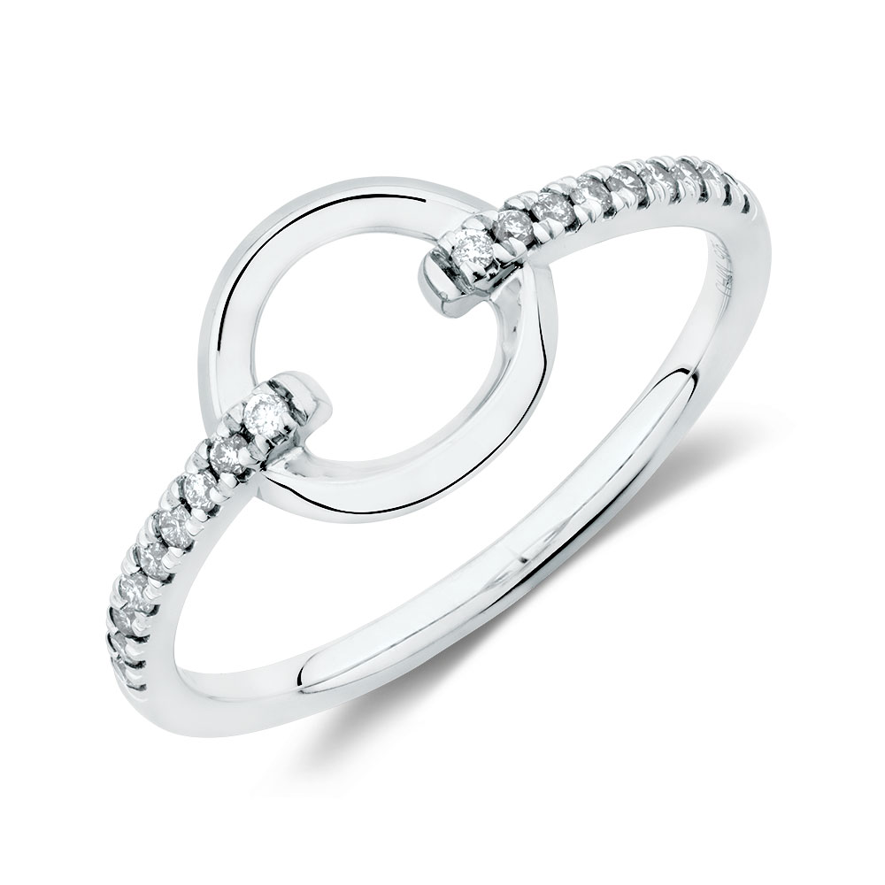 Circle Ring With 0 12 Carat Tw Of Diamonds In Sterling Silver