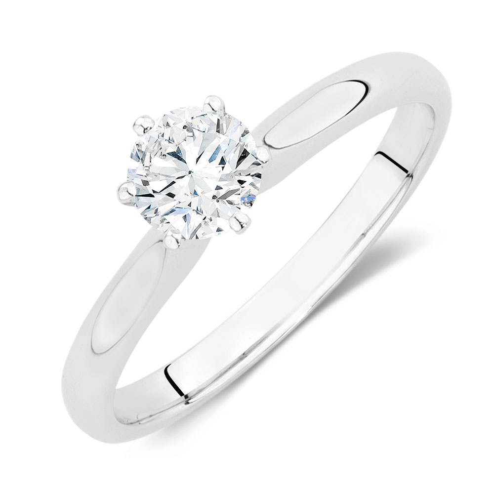 brilliant ring diamond carat solitaire engagement band round rings with pave pin simple