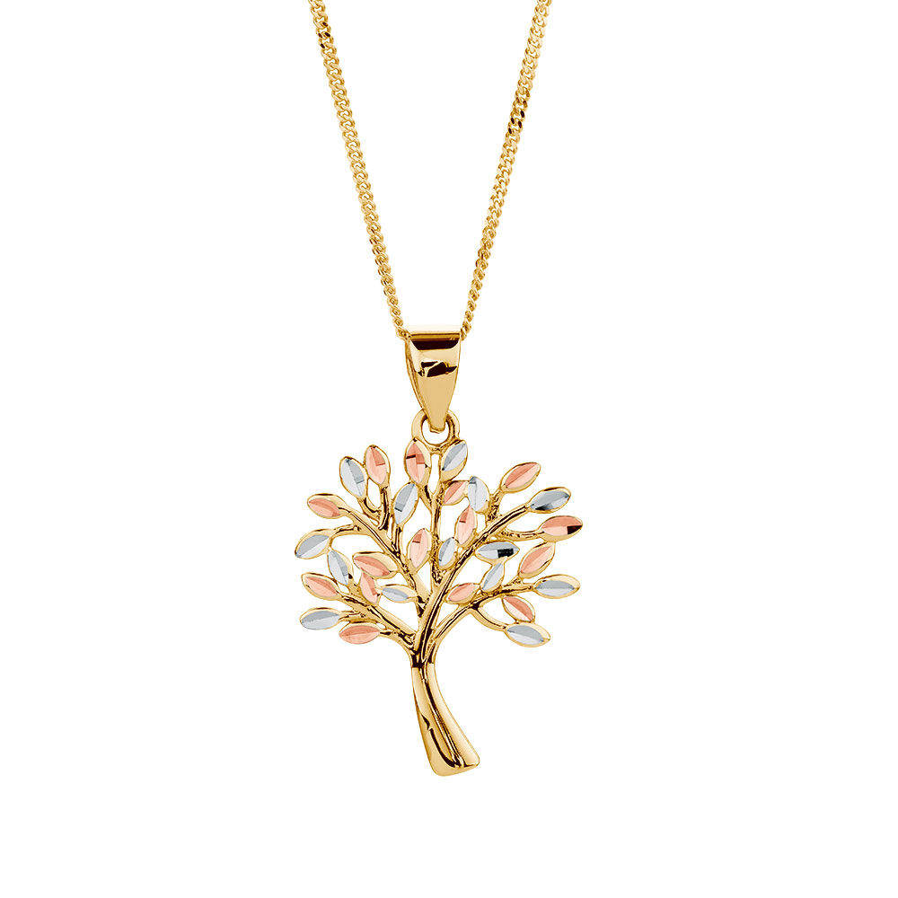Tree of life pendant in 10ct yellow white rose gold aloadofball Image collections