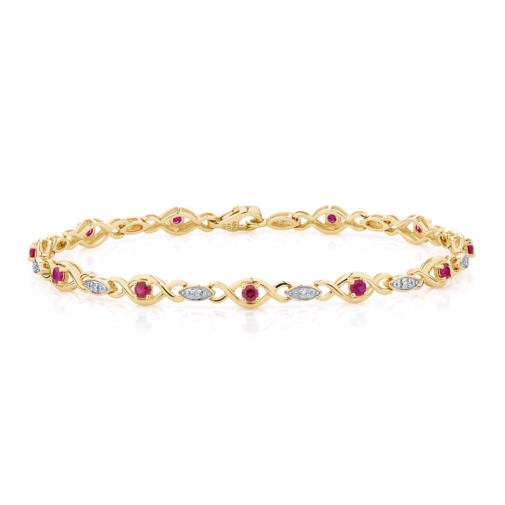 bracelet with created ruby amp diamonds in 10ct yellow