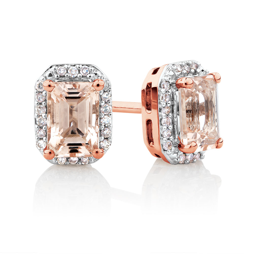 cut cushion earrings gifts stud morganite p goldsmiths gold rose
