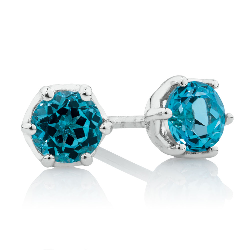 bubble earrings road jewellery london blue stud product studs gold rose topaz