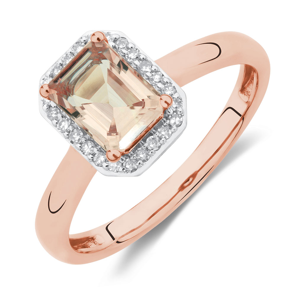 Ring With Morganite Amp Diamonds In 10ct Rose Gold