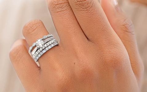 White Gold Solitaire and Bridal Rings