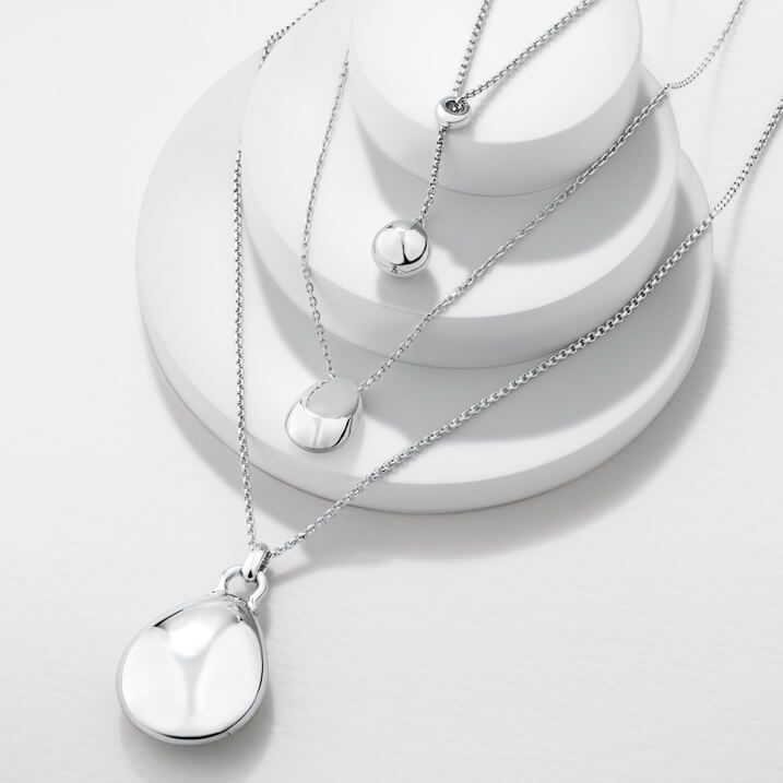 Sterling silver takes on new levels of luxury in this range. Crafted in solid 925 sterling silver, these statement pieces have premium quality you can feel. Each design is also plated with rhodium, an extremely rare, valuable, and strong metal which is typically used in white gold jewellery; creating a high-shine, premium piece with durable beauty that lasts.