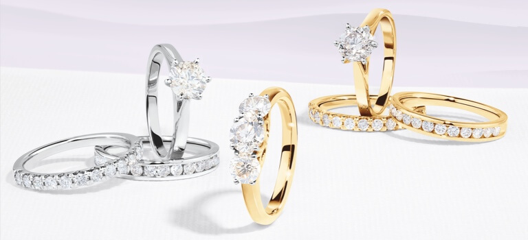 Engagement rings and matching wedding bands